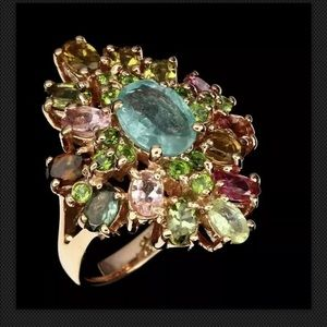 Oval Emerald Chrome Diopside Tourmaline 925S Ring